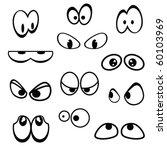Set Of Cartoon Eyes On White...