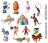 traveling circus icons set with ... | Shutterstock .eps vector #601041461