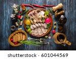 snack set. assorted sliced meat ... | Shutterstock . vector #601044569