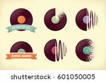 vintage vinyl records labels... | Shutterstock .eps vector #601050005