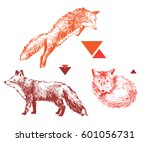 3 bight hand drawn foxes in... | Shutterstock .eps vector #601056731