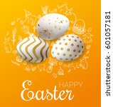 happy easter background with... | Shutterstock .eps vector #601057181