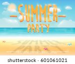 summer party with sea sand... | Shutterstock .eps vector #601061021