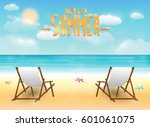 bright summer sea beach with a...   Shutterstock .eps vector #601061075