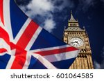 british union jack flag and big ... | Shutterstock . vector #601064585