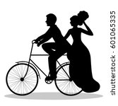 newlyweds on a bicycle. bride... | Shutterstock . vector #601065335