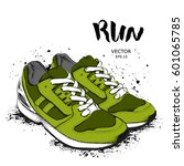 hand drawn sneakers on white... | Shutterstock .eps vector #601065785