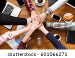 teamwork  team connect hands... | Shutterstock . vector #601066271