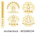 set yoga logos   vector... | Shutterstock .eps vector #601068134