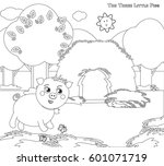 coloring vector three little... | Shutterstock .eps vector #601071719