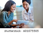 two smiling young business... | Shutterstock . vector #601075505