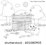 coloring three little pigs 5... | Shutterstock .eps vector #601080905