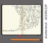 vector notebooks with pencil... | Shutterstock .eps vector #601081229