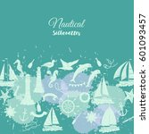 nautical background with ships... | Shutterstock . vector #601093457