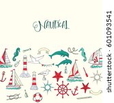 nautical background with ships... | Shutterstock . vector #601093541