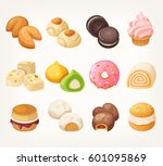 sweets and cookies for tea from ... | Shutterstock .eps vector #601095869
