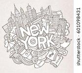 cartoon cute doodles hand drawn ... | Shutterstock .eps vector #601098431