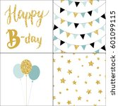 set of birthday party cards and ... | Shutterstock .eps vector #601099115