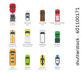 modern cars top view icons set. ... | Shutterstock .eps vector #601100171