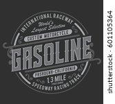 motorcycle gasoline typography  ... | Shutterstock .eps vector #601105364