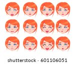 set of female emotions of red... | Shutterstock .eps vector #601106051