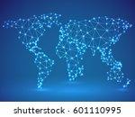 polygonal world map made of... | Shutterstock .eps vector #601110995