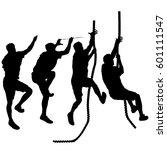 set black silhouette rock... | Shutterstock .eps vector #601111547