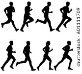 set of silhouettes. runners on... | Shutterstock .eps vector #601111709