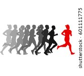 set of silhouettes. runners on... | Shutterstock .eps vector #601111775