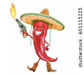 burning red pepper. the mexican ... | Shutterstock . vector #601115225