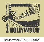 template grunge cinema poster... | Shutterstock .eps vector #601135865