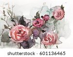 watercolor floral design for... | Shutterstock . vector #601136465