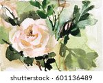 watercolor floral design for... | Shutterstock . vector #601136489