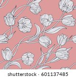 Stock vector tulips pink floral seamless vector pattern 601137485