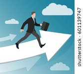 businessman runs on increasing... | Shutterstock .eps vector #601139747