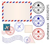 international mail envelope... | Shutterstock .eps vector #601140191