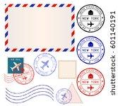 international mail envelope... | Shutterstock .eps vector #601140191