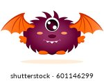 cute cartoon monster with wings