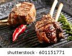 grilled food   rack of lamb...   Shutterstock . vector #601151771