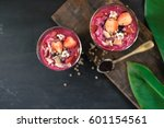 acai berry smoothie topped with ... | Shutterstock . vector #601154561