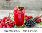healthy smoothie from raspberry ... | Shutterstock . vector #601154801