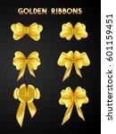 set of golden ribbons. | Shutterstock .eps vector #601159451