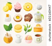 set of tea elements food and... | Shutterstock .eps vector #601160447