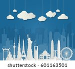 paper travel background... | Shutterstock .eps vector #601163501
