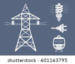 high voltage power line... | Shutterstock .eps vector #601163795