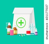 medical tablets  bottles  pills ...   Shutterstock .eps vector #601177037