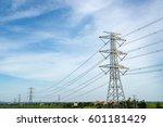 pylon in substation blue sky... | Shutterstock . vector #601181429