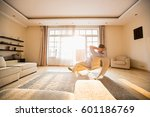 rear view of man relaxing on... | Shutterstock . vector #601186769