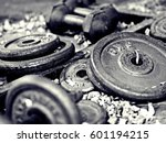 weight training for workout  | Shutterstock . vector #601194215