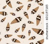 ice cream seamless pattern... | Shutterstock .eps vector #601197185